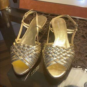 Miu Miu Napa Silk Flat sandals Gold Sz 39